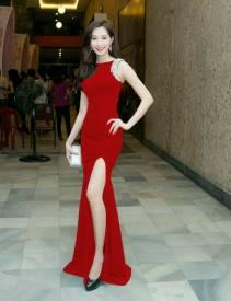 Đầm dạ hội đỏ thiết kế xẻ tà sang trọng quý phái #686