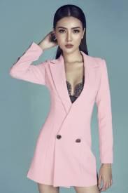 Đầm vest tay dài thiết kế hở ngực pha ren đen sexy #1327