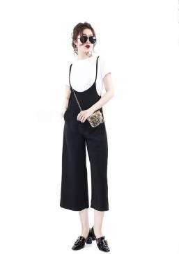 Bộ jum lững đen thiết kế áo trắng tay con dễ thương # 1347
