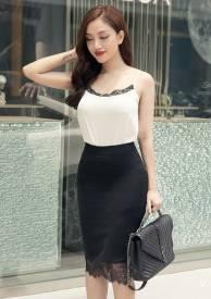 Bộ áo váy dễ thương thiết kế trắng đen viền ren #1333