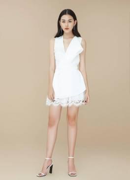 Đầm trắng vest pha ren thiết kế dễ thương, tinh tế #1356