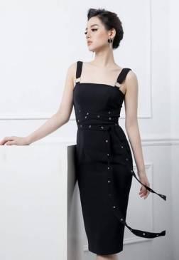 Đầm đen ôm body 2 dây thiết kế đóng khoen tròn đẹp #1384