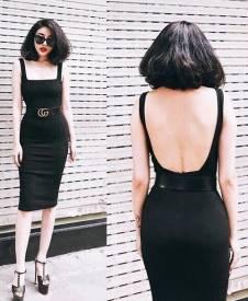 Đầm đen ba lỗ hở lưng thiết kế ôm body cực tôn dáng #1360