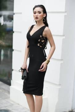 Đầm đen ôm body đẹp thiết kế đan dây cá tinh #1383