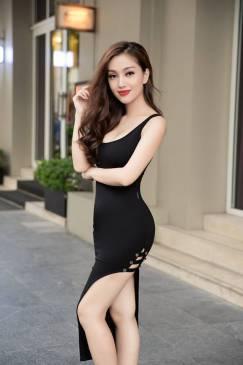 Đầm ba lỗ đen dáng dài thiết kế xẻ tà tuyệt đẹp #1386