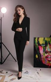 Bộ áo vest tay dài và quần tây đen sang trọng, quý phái #1202