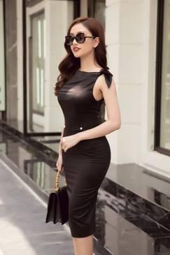 Đầm đen ôm body nơ vai thiết kế sang trọng quý phái #1395