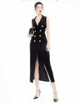 Đầm vest đen dài thiết kế tà chéo sang trọng quý phái #1394