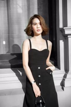 Đầm đen 2 dây A thiết kế sang trọng như Ngọc Trinh #1393