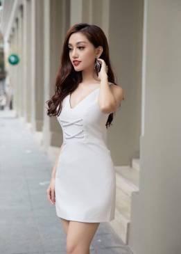 Đầm trắng ngắn chữ A thiết kế cổ tim đan dây trẻ trung #1389