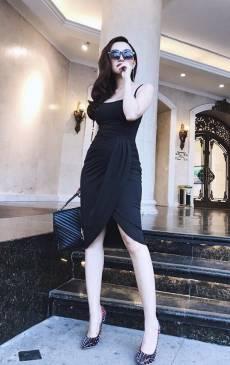 Đầm đen dự tiệc sang trọng thiết kế ôm body chéo tà #1387
