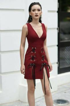 Đầm booc đô ôm body thiết kế cổ tim xẻ tà tuyệt đẹp #1380