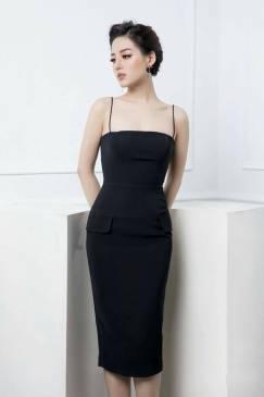 Đầm đen 2 dây đẹp thiết kế ôm body cực tôn dáng #1379