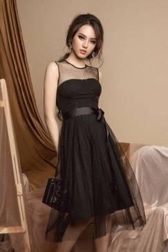 Đầm ren xòe đen thiết kế cột dây eo tuyệt đẹp #1375