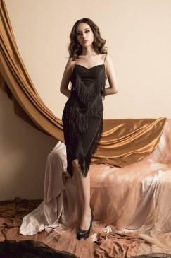 Đầm đen 2 dây tua rua thiết kế ôm body cá tính #1374