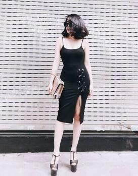 Đầm xẻ tà 2 dây thiết kế ôm body đan dây tuyệt đẹp #1357