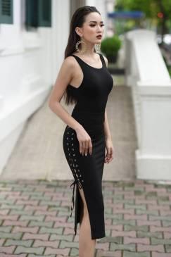 Đầm xẻ tà dự tiệc đẹp thiết kế ôm body tôn dáng #1390