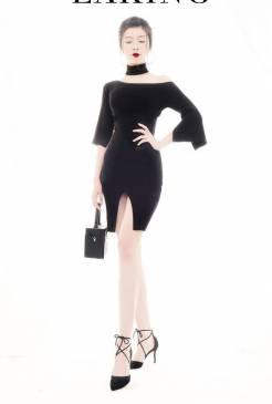 Đầm đen lệch vai đẹp thiết kế ôm body tôn dáng #1402