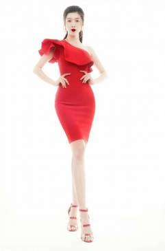 Đầm đỏ lệch vai đẹp thiết kế ôm body trẻ trung #1401