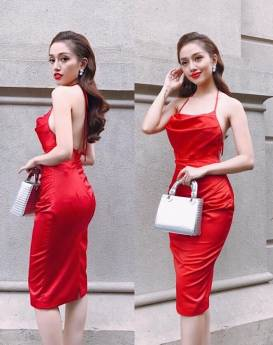Đầm phi bóng cổ yếm thiết kế ôm body tuyệt đẹp #1403
