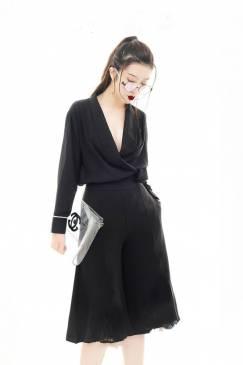 Bộ áo lụa cổ đỗ tay dài và Quần lững ống rộng #1418