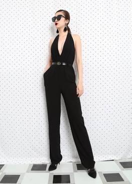 Jumpsuit dài hở lưng thiết kế cổ yếm tuyệt đẹp #14332