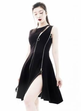 Đầm đen xòe đẹp thiết kế phối dây kéo cá tính #1444