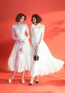 Đầm ren trắng dự tiệc thiết kế dài tay sang trọng #1442