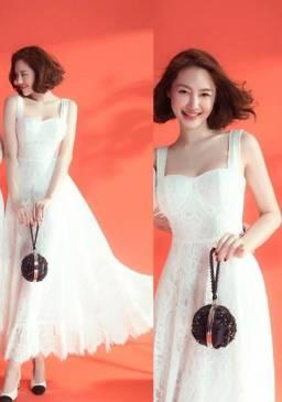 Đầm ren xòe dự tiệc thiết kế 2 dây trẻ trung #1446