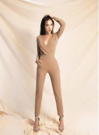 Jumpsuit dài đẹp thiết kế hở ngực sâu tay dài #1462