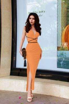Đầm dài hở lưng thiết kế cột dây eo tuyệt đẹp #1460