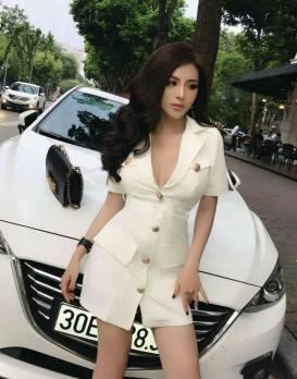 Đầm vest trắng tay ngắn thiết kế hở ngực sexy #1454