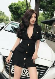 Đầm vest đen dự tiệc thiết kế hở ngực tuyệt đẹp #1454