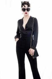 Bộ áo phi lụa đen tay dài và Quần dài ôm tuyệt đẹp #1463