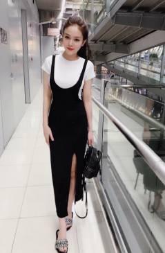 Bộ đầm yếm dễ thương thiết mặc kèm áo trắng tay ngắn #1464
