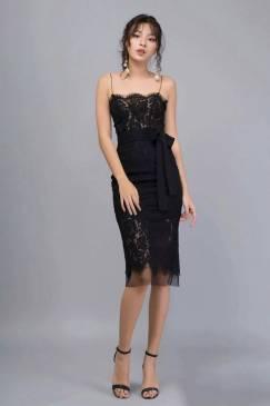 Đầm ren đen 2 dây thiết kế đơn giản sang trọng #1452