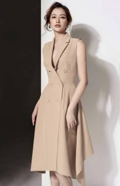 Đầm vest dài nude với phong cách sang trọng, quý phái #1478