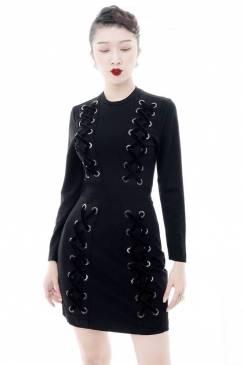 Đầm đen tay dài quý phái thiết kế ôm body đan dây #1479