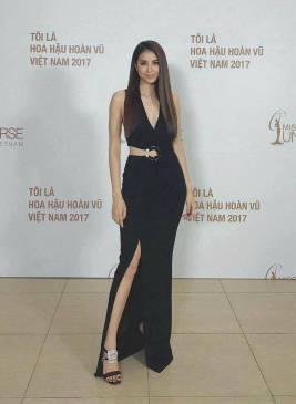 Đầm dạ hội đen xẻ tà thiết kế khoét eo đẹp như Phạm Hương #1477