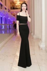 Bộ áo đầm dạ hội đen thiết kế vai ngang tuyệt đẹp #1481