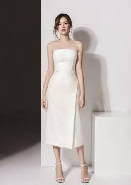 Đầm ống trắng đẹp thiết kế  váy chữ A dài trẻ trung #1482