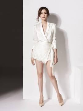 Bộ áo phi lụa tay dài và Quần giả váy pha ren đẹp #1501