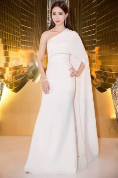 Đầm dài dạ hội trắng thiết kế choàng vai tuyệt đẹp #1495