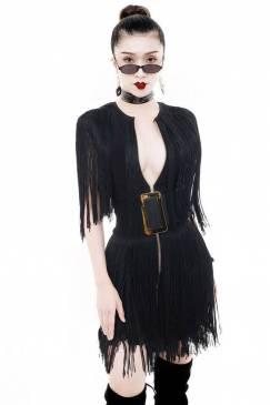 Đầm đen tua rua đẹp thiết kế dây kéo hở ngực sexy #1490