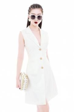 Đầm vest trắng sát nách thiết kế đơn giản, thanh lich #1517