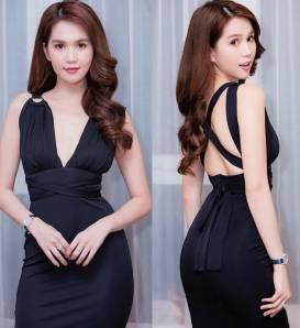 Đầm đen hở lưng Ngọc Trinh thiết kế cột dây ôm body #1513