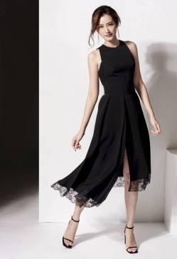 Đầm đen dự tiệc đẹp thiết kế viền ren thanh lịch #1512