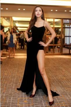 Đầm dạ hội đen cao cấp thiết kế 2 dây xẻ tà tuyệt đẹp #1510