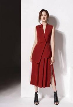 Bộ áo vest sát nách và Chân váy dài xếp ly tuyệt đẹp #1508