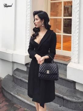 Đầm vest đen sang trọng thiết kế lệch vai 1 bên #1518